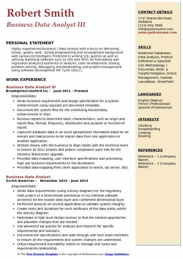 Business Data Analyst III Resume Example