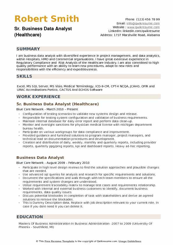 Sr Business Data Analyst Healthcare Resume Model