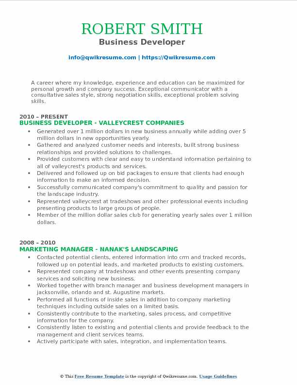Business Developer Resume Model