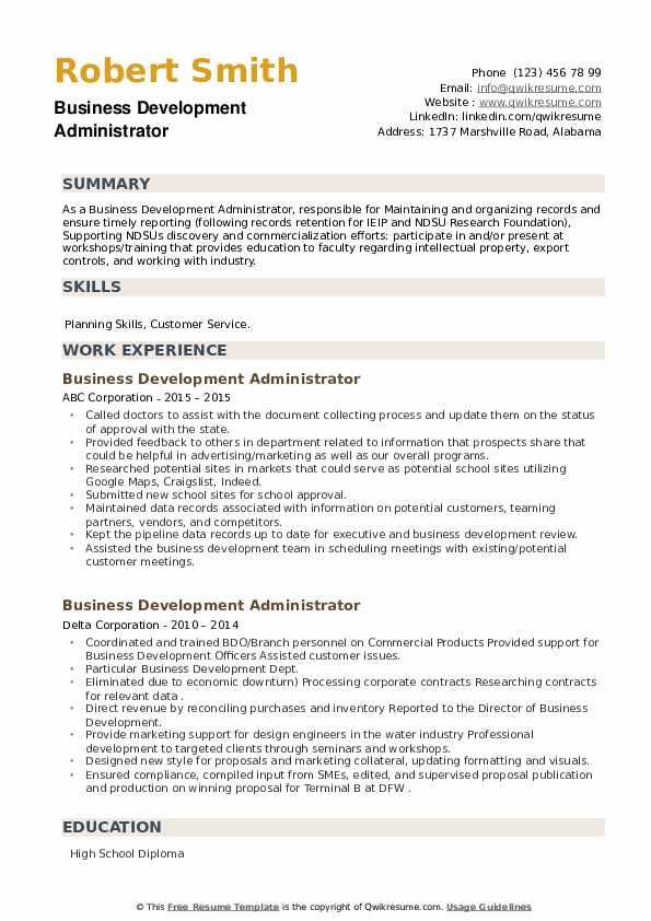 Business Development Administrator Resume example