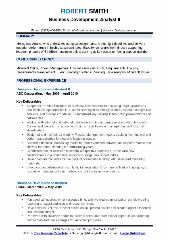 Business Development Analyst II Resume Example