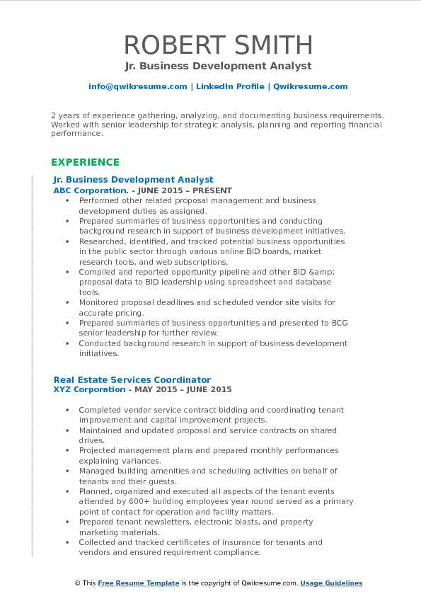 Jr. Business Development Analyst Resume Template