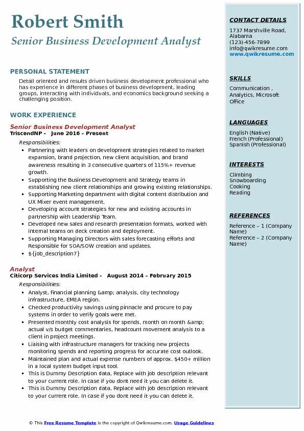 Senior Business Development Analyst Resume Sample