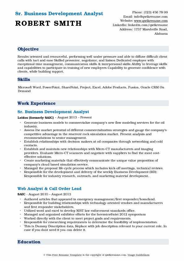 Sr. Business Development Analyst Resume Model