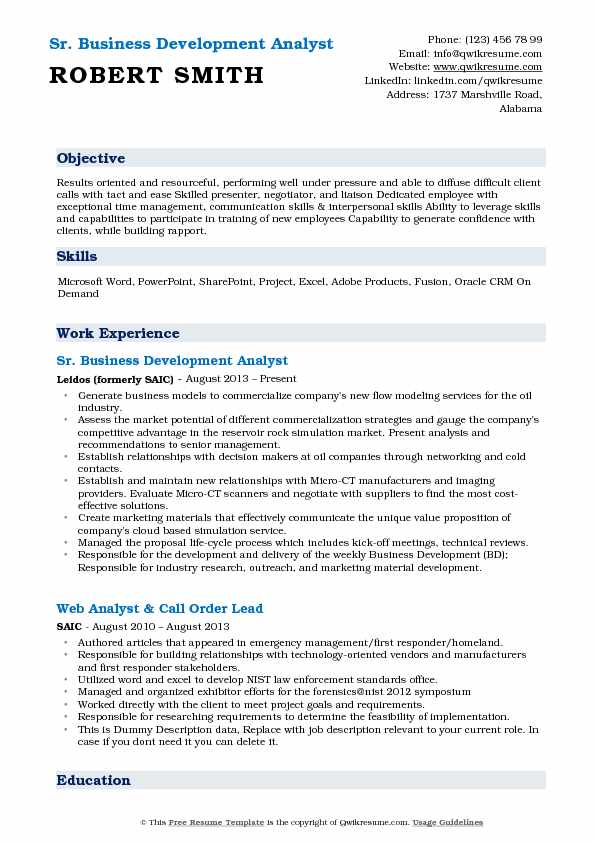 Sr. Business Development Analyst Resume Format