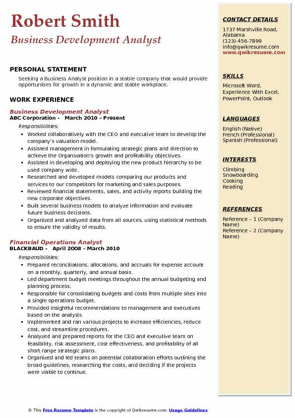 Business Development Analyst Resume Example