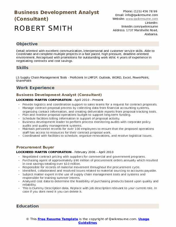 Business Development Analyst (Consultant) Resume Format