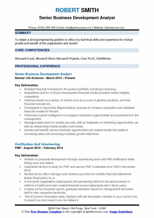Senior Business Development Analyst Resume Template