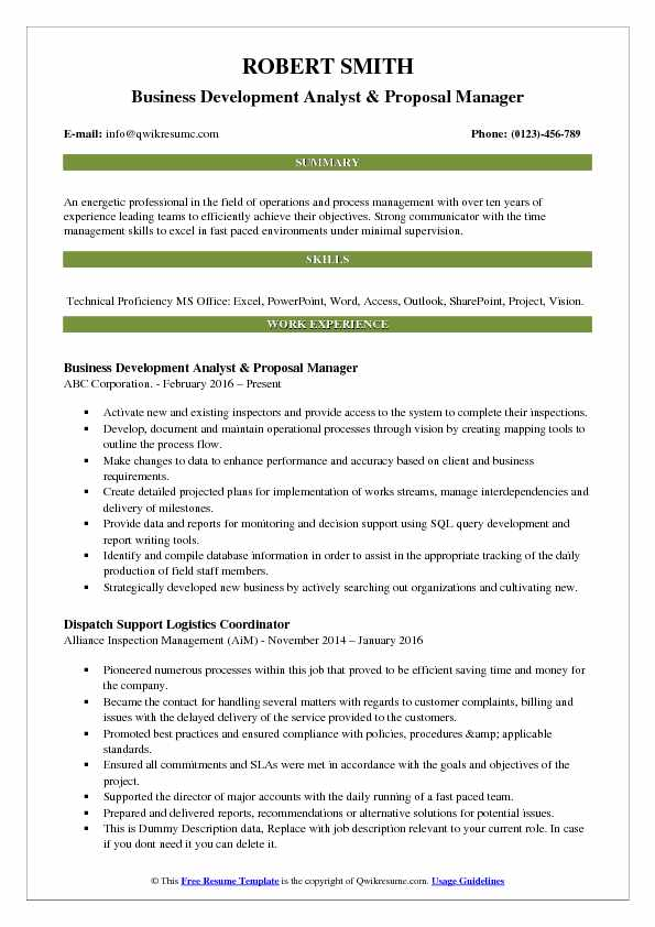 Business Development Analyst & Proposal Manager Resume Template