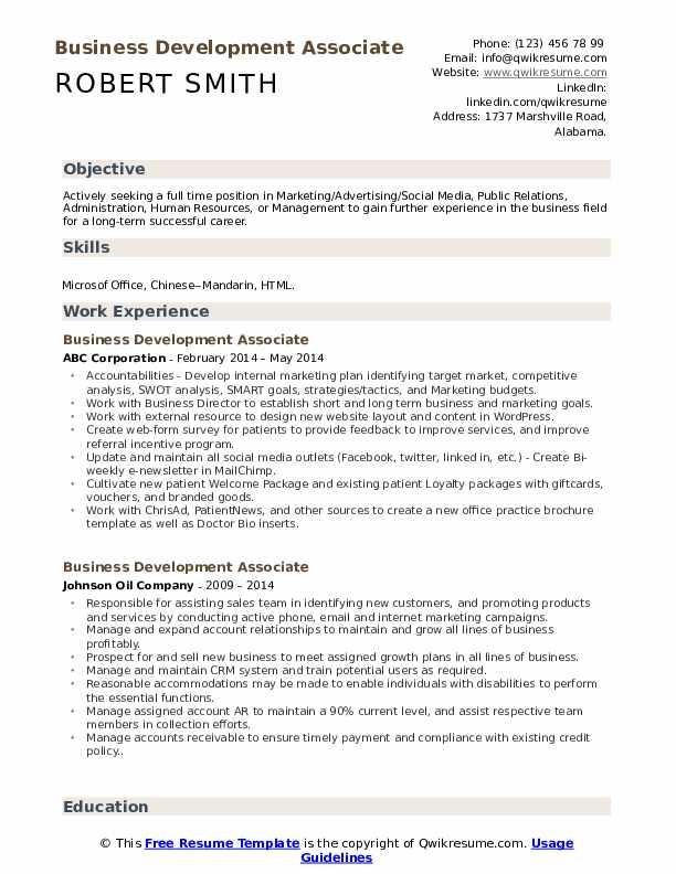 Business Development Associate Resume Samples Qwikresume