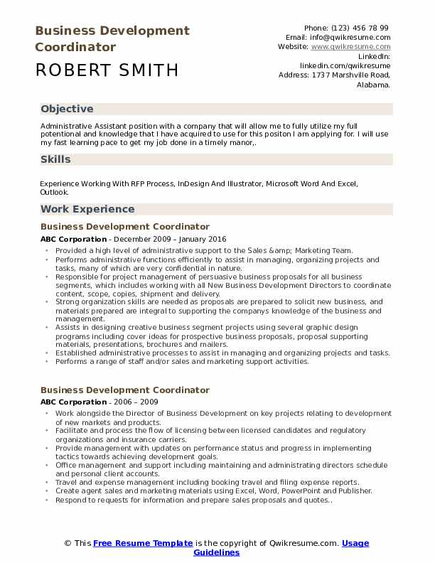 Business Development Coordinator Resume Format