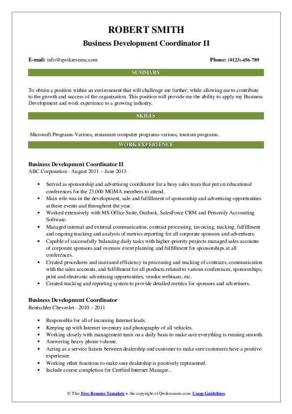 Business Development Coordinator II Resume Example