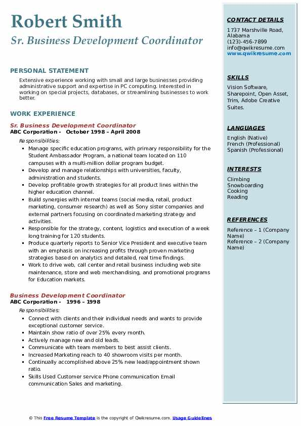Sr. Business Development Coordinator Resume Model