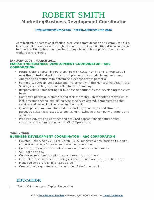 Marketing/Business Development Coordinator Resume Format
