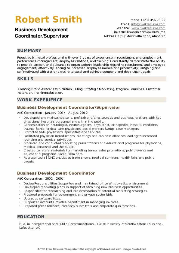 Business Development Coordinator/Supervisor Resume Model