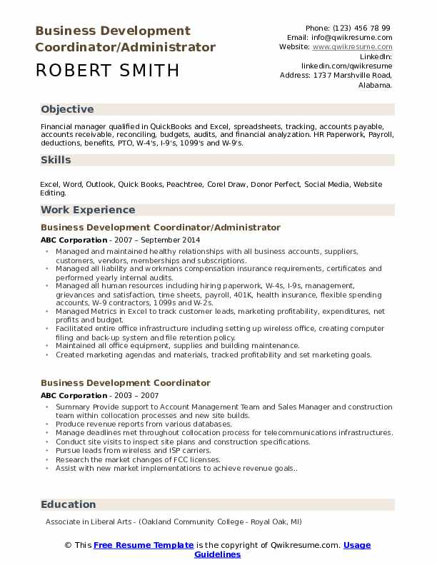 Business Development Coordinator/Administrator Resume Example
