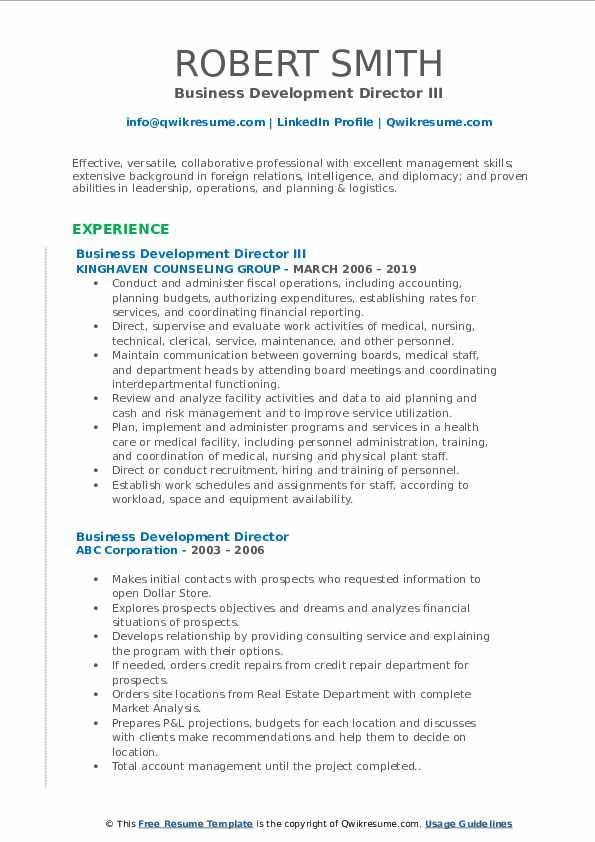 Business Development Director III Resume Format