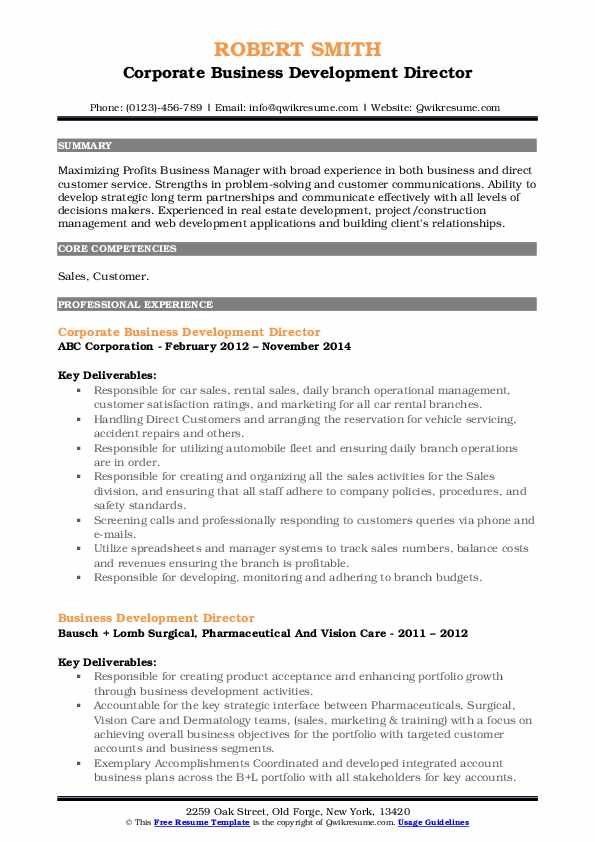 Corporate Business Development Director Resume Model