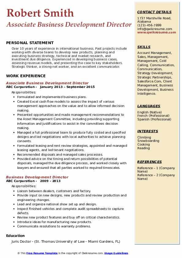 Associate Business Development Director Resume Sample