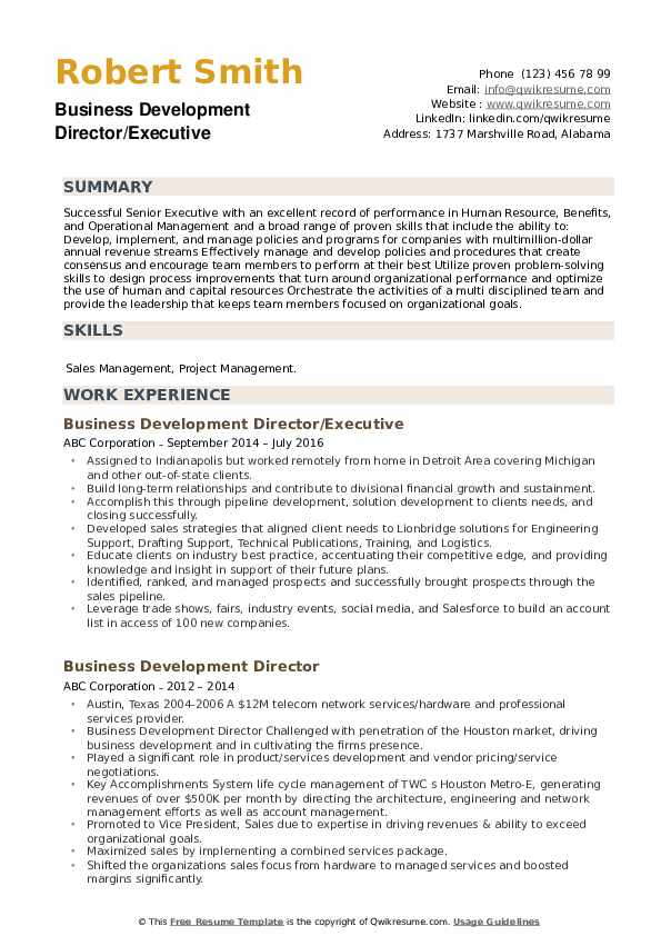 Business Development Director/Executive Resume Sample