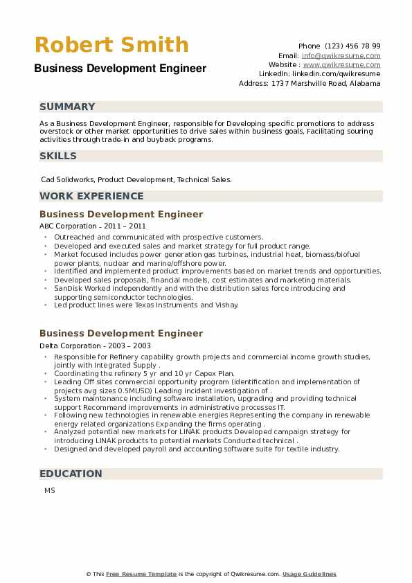 Business Development Engineer Resume example