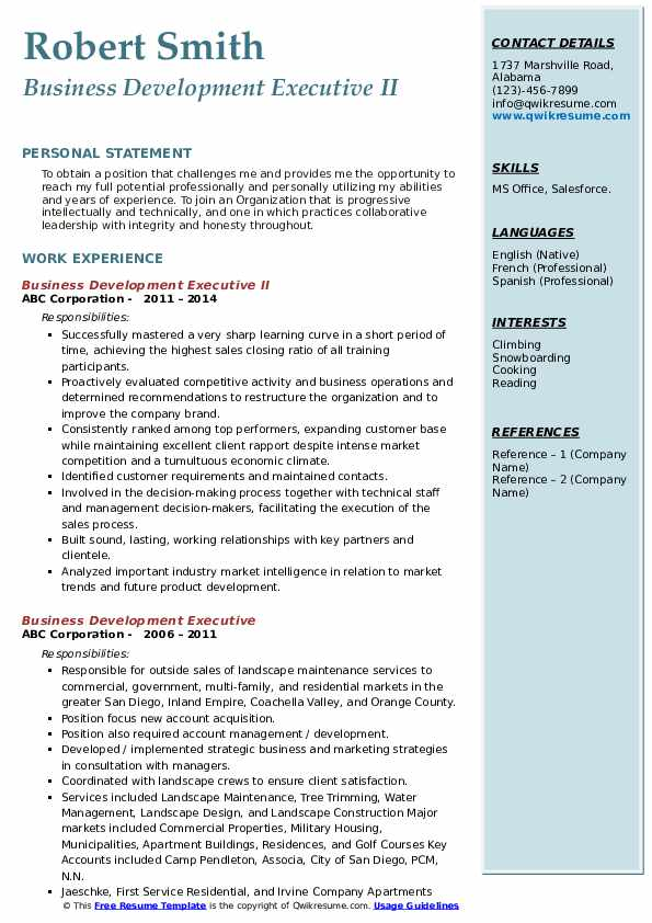 Business Development Executive II Resume Format