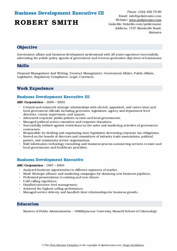 Business Development Executive III Resume Format