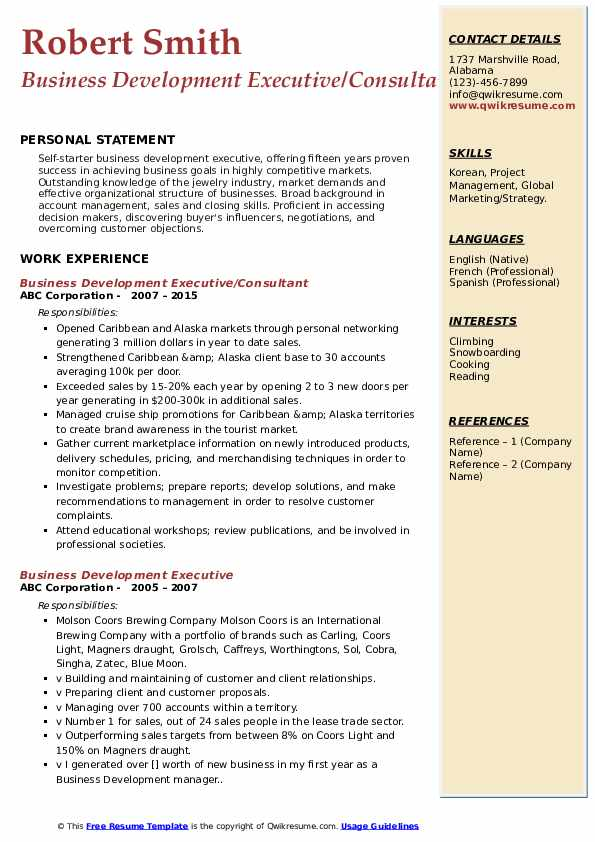 Business Development Executive/Consultant Resume Format