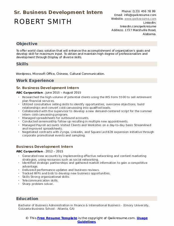 Sr. Business Development Intern Resume Template