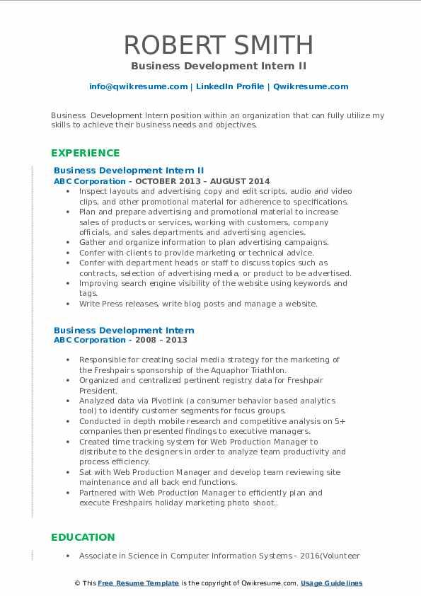 Business Development Intern II Resume Model