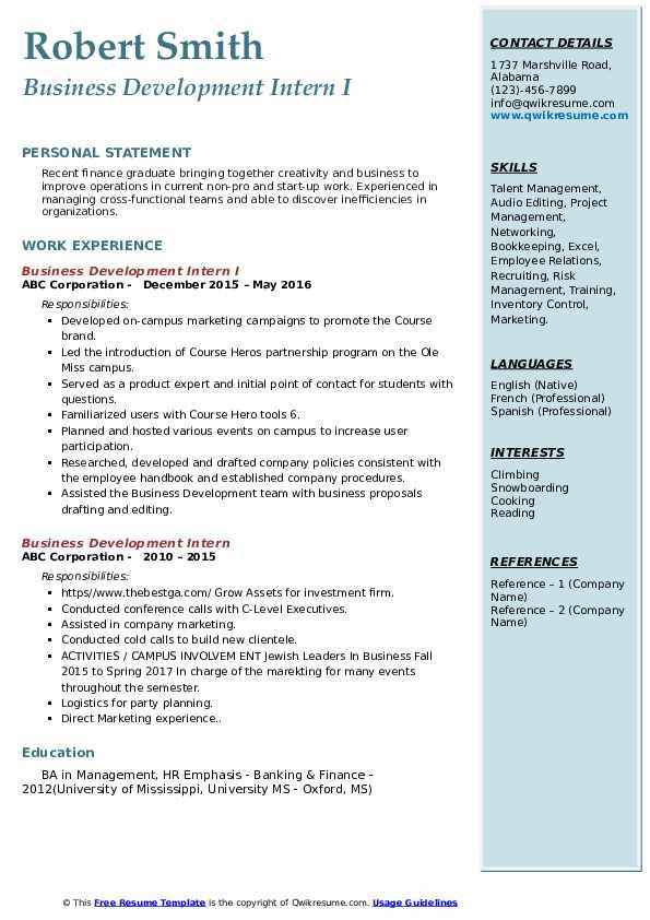 Business Development Intern I Resume Example