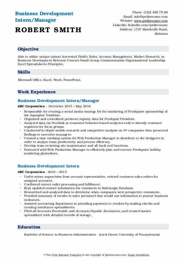 Business Development Intern/Manager Resume Sample