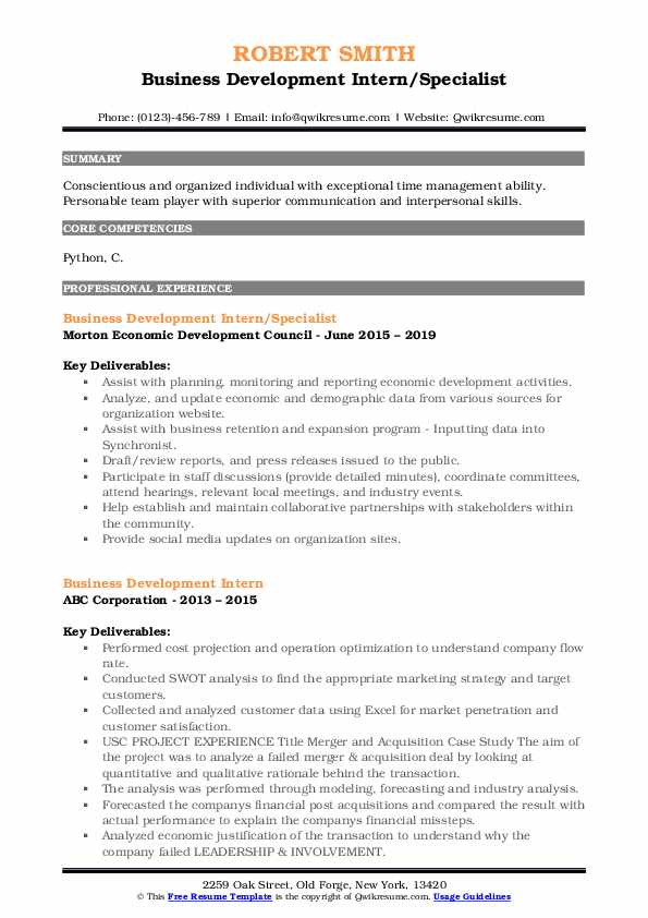 Business Development Intern/Specialist Resume Model
