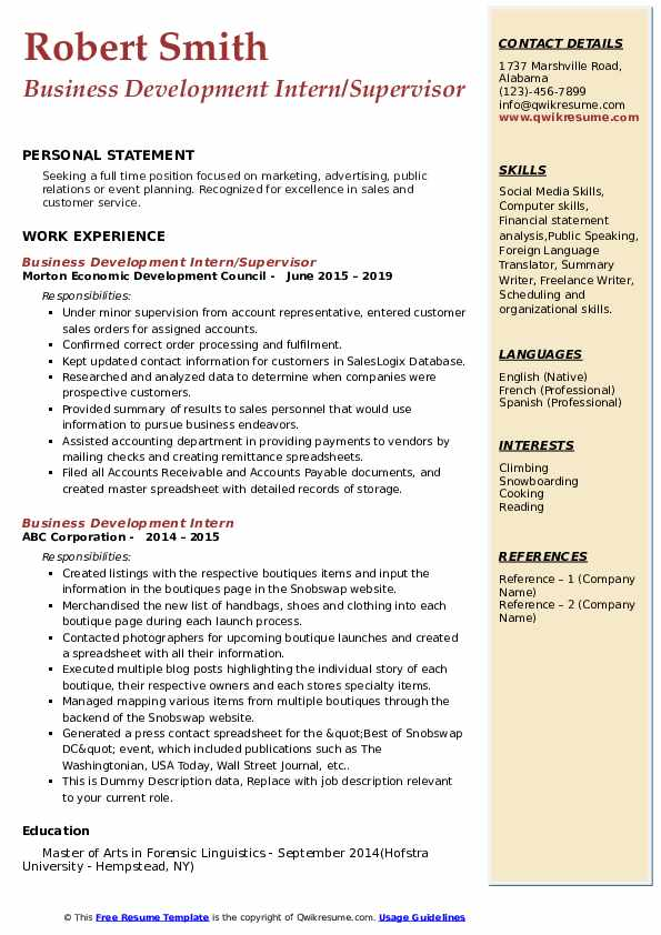 Business Development Intern/Supervisor Resume Format