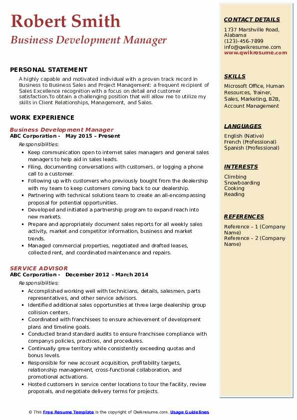 Business Development Manager Resume Template