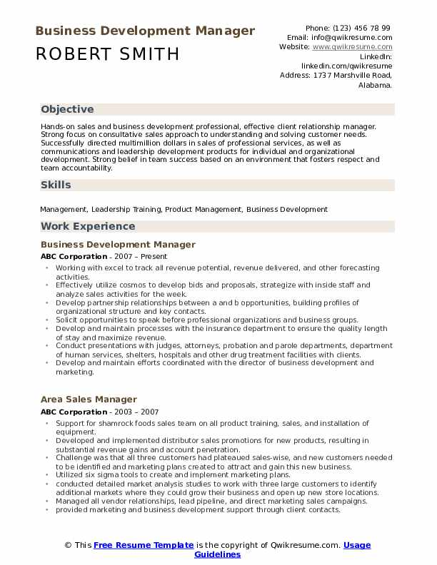 Business Development Manager Resume example