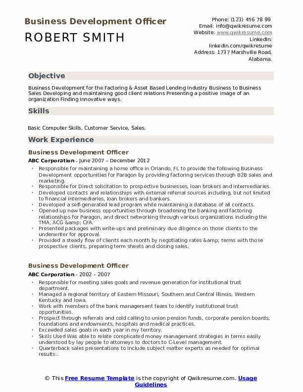 Business Development Officer Resume Template