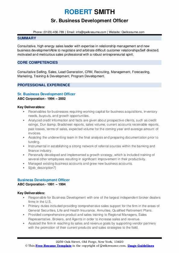 Sr. Business Development Officer Resume Example