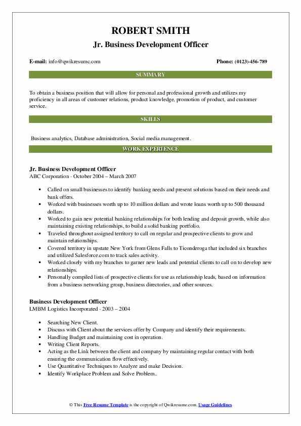 Jr. Business Development Officer Resume Sample