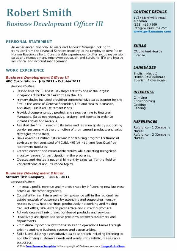 Business Development Officer III Resume Example