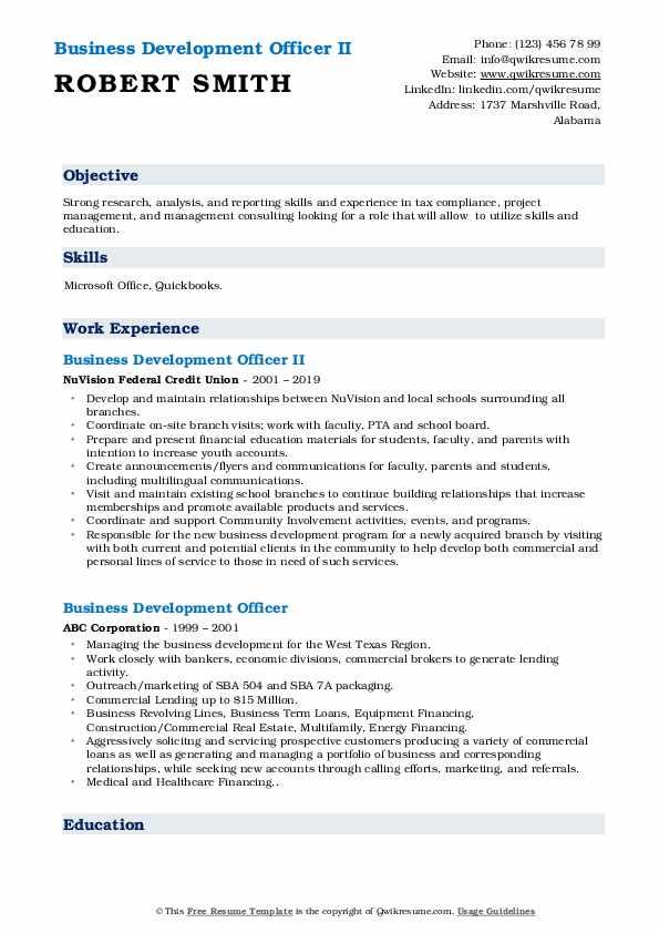 Business Development Officer II Resume Format