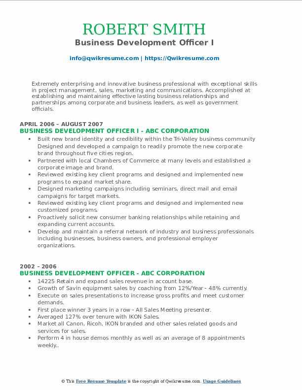 Business Development Officer I Resume Sample