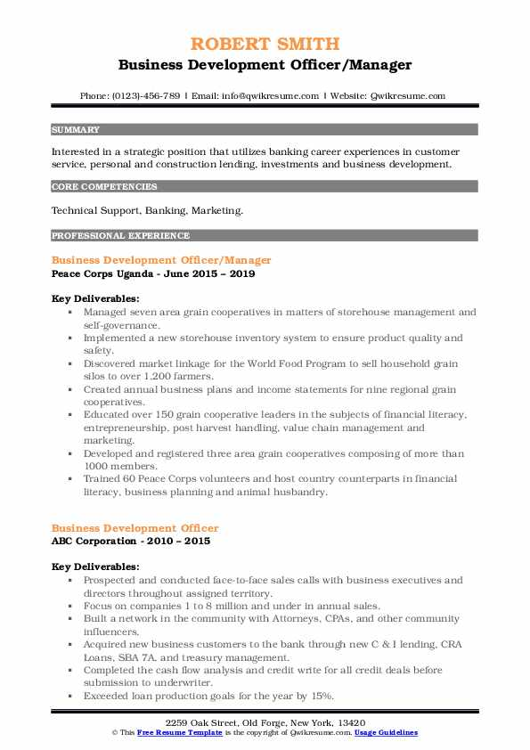 Business Development Officer/Manager Resume Example