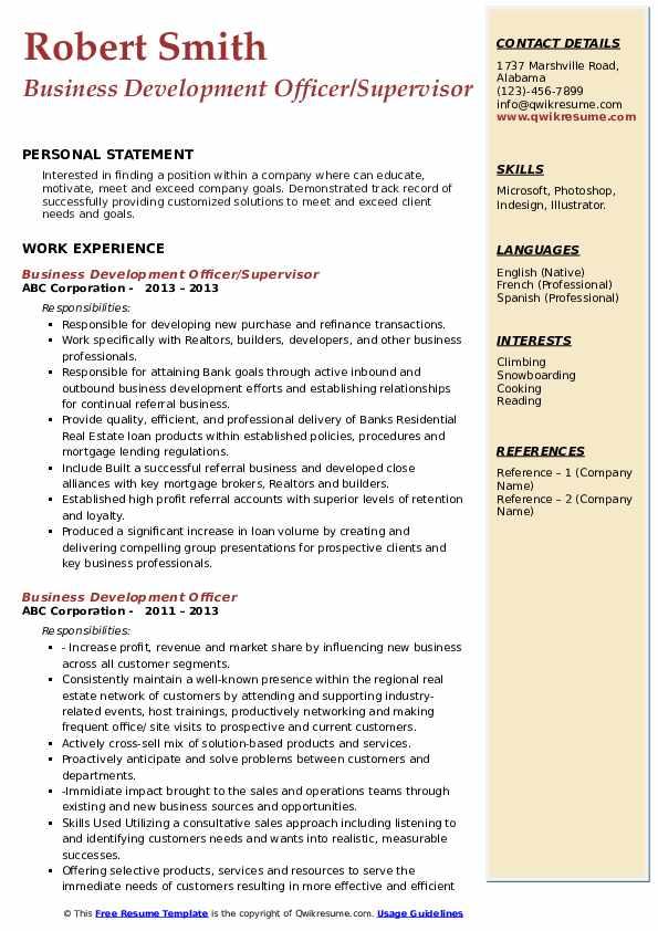Business Development Officer/Supervisor Resume Template