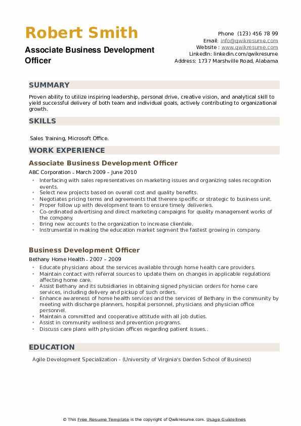 Associate Business Development Officer Resume Example
