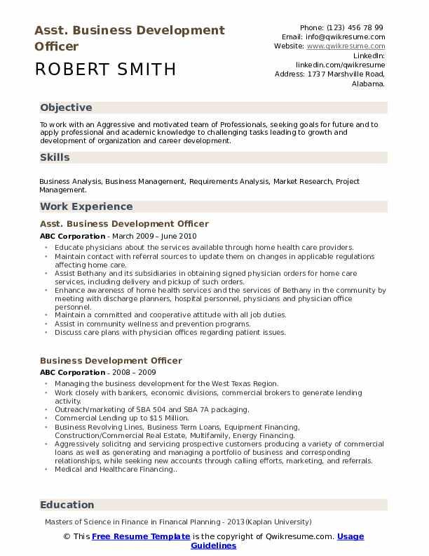 Asst. Business Development Officer Resume Format