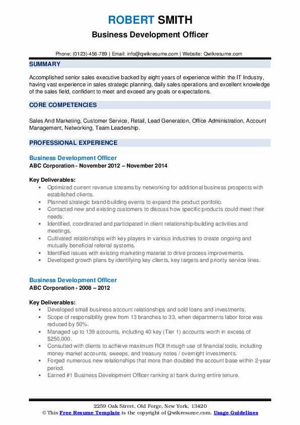 Business Development Officer Resume example