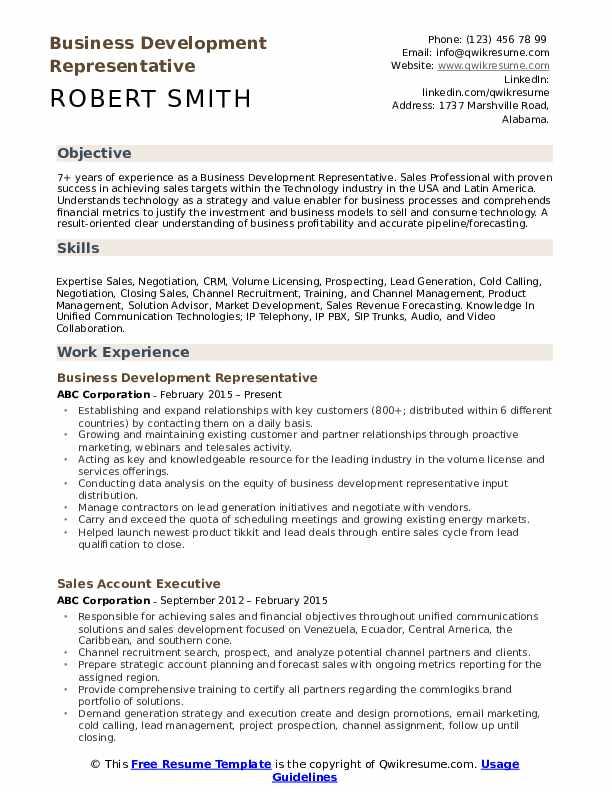 Business Development Representative  Resume Template