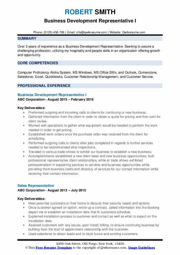 Business Development Representative I Resume Example