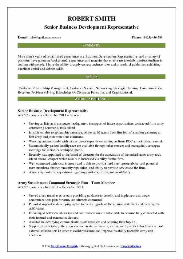 Senior Business Development Representative Resume Template